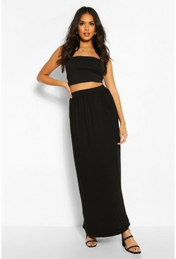 Womens Black Basic Pocket Front Jersey Maxi Skirt