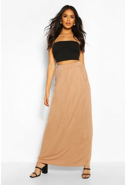 Womens Camel Basic Pocket Front Jersey Maxi Skirt