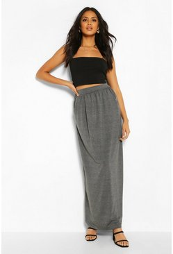 Womens Charcoal Basic Pocket Front Jersey Maxi Skirt