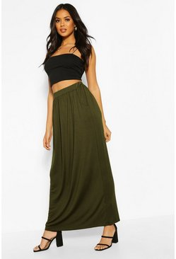 Womens Khaki Basic Pocket Front Jersey Maxi Skirt