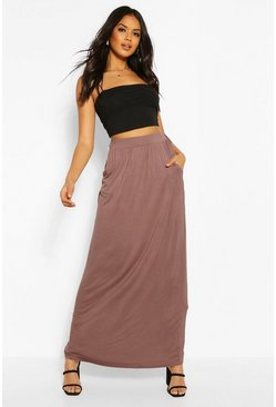 Mocha Basic Pocket Front Jersey Maxi Skirt