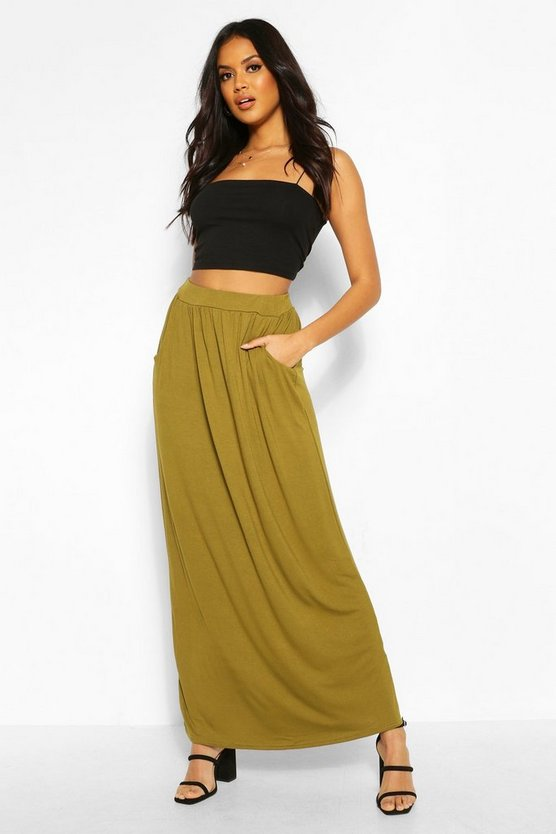 Womens Olive Basic Pocket Front Jersey Maxi Skirt