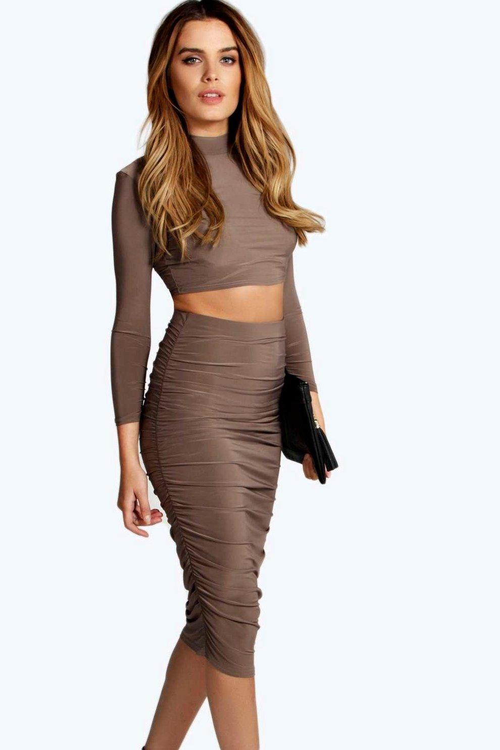 98b20bff6e Mariah Slinky Ruched Midi Skirt | Boohoo