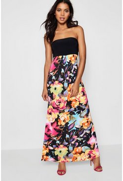 Womens Multi Floral Bandeau Maxi Dress