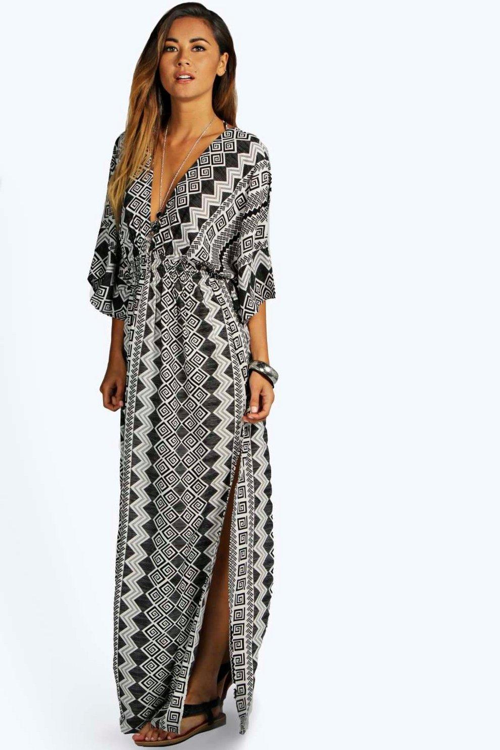 5ec5f409f5e Maria Monochrome Aztec Kimono Maxi Dress