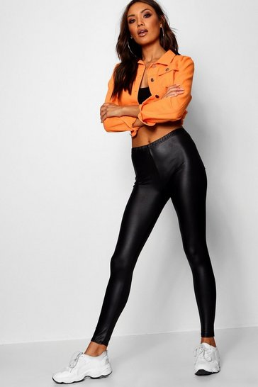 Womens Black Wet Look Pocket Back Leggings
