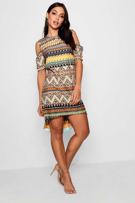 Fallon Aztec Print Open Shoulder Shift Dress