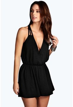 Womens Black Strappy Wrap Front Playsuit