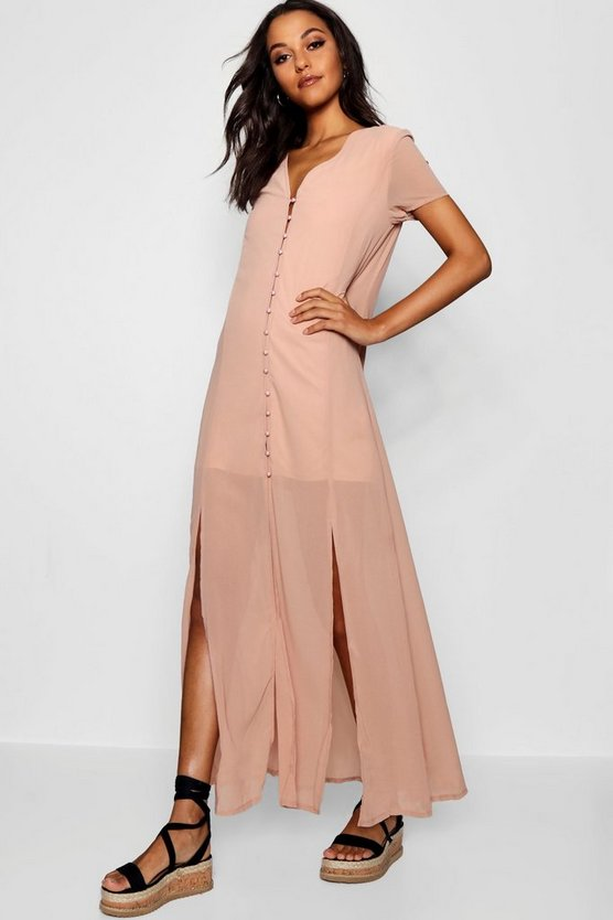 Chiffon Button Through Sliced Maxi Dress