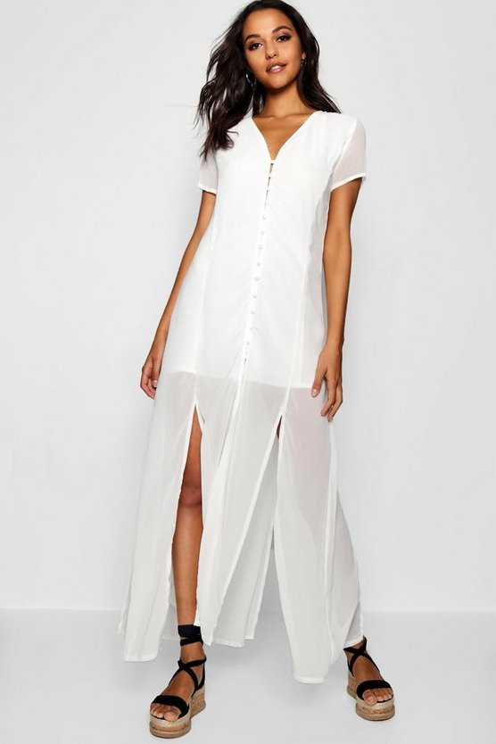 Womens White Chiffon Button Through Sliced Maxi Dress