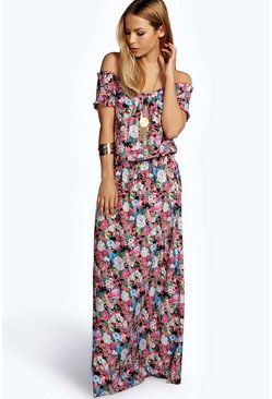 Womens Pink Bea Woven Floral Off The Shoulder Maxi Dress