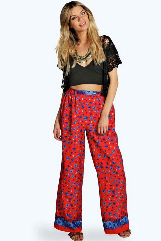 Womens Red Hilary Floral Border Wide Leg Woven Trousers
