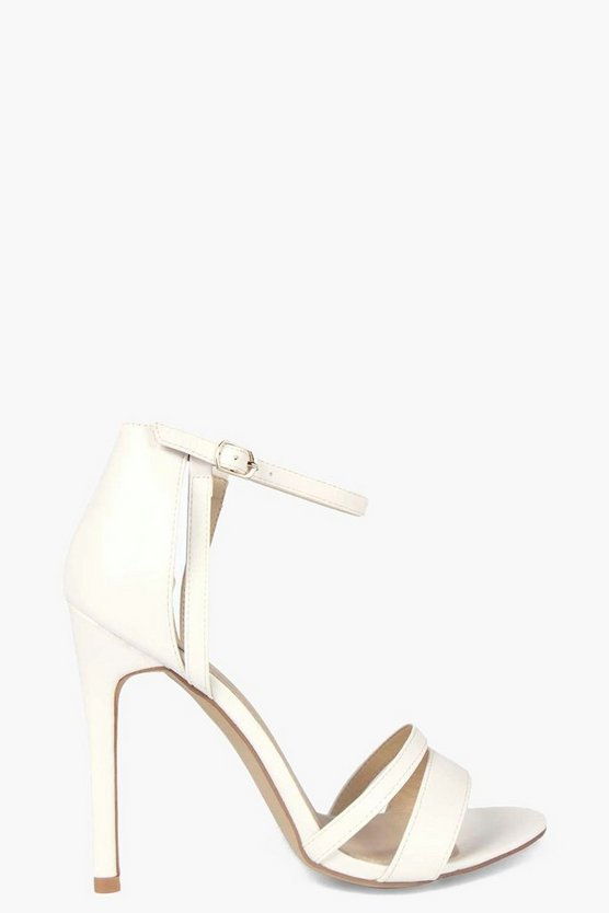 Womens White Strappy Two Part Heels