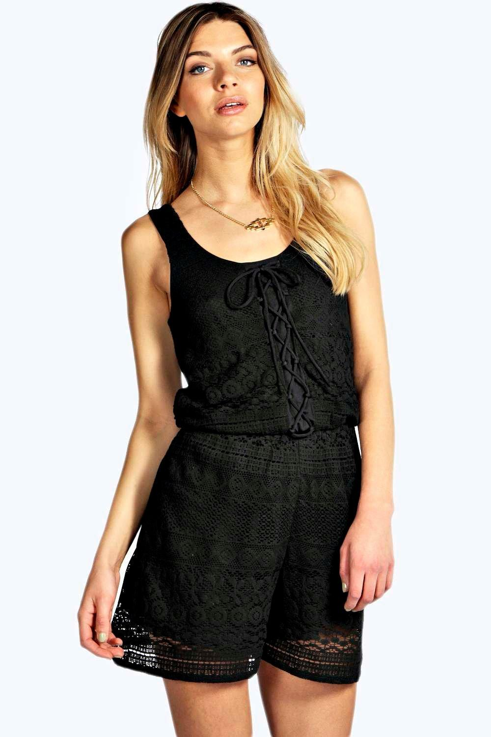 ed4be8263a1c DISCOUNT boohoo Suzy Lace Up Front Sleeveless Playsuit - black
