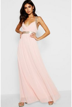 Collection robe maxi en tulle à empiècements en sequins, Blush