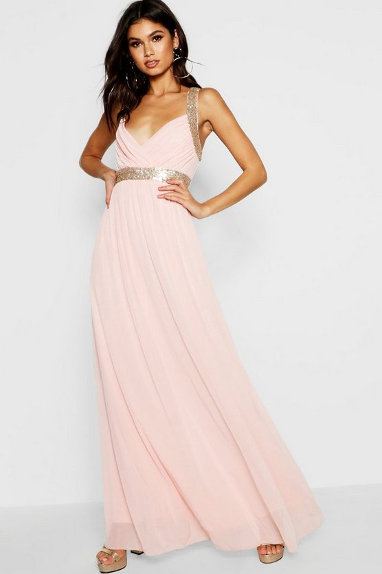Womens Blush Boutique Sequin Panel Mesh Maxi Dress