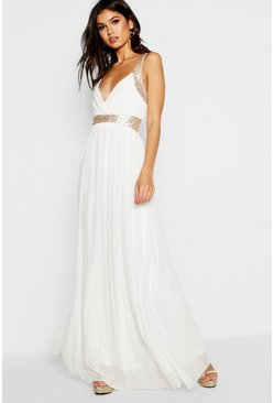 Ivory Boutique  Sequin Panel Mesh Maxi Dress