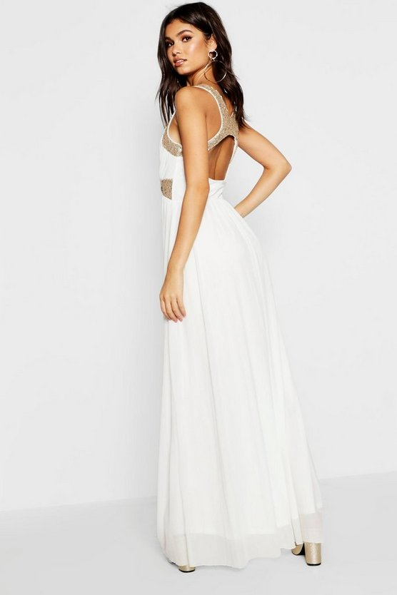 Boutique Sequin Panel Mesh Maxi Dress
