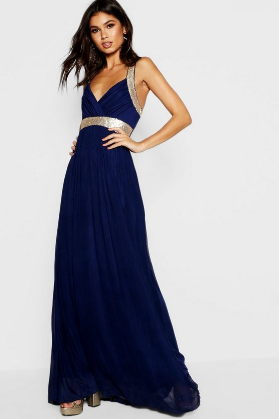 Boutique Sequin Panel Mesh Maxi Dress
