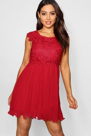 Berry Boutique  Corded Lace Pleated Skater Dress