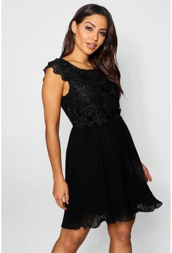 Womens Black Boutique  Corded Lace Pleated Skater Dress
