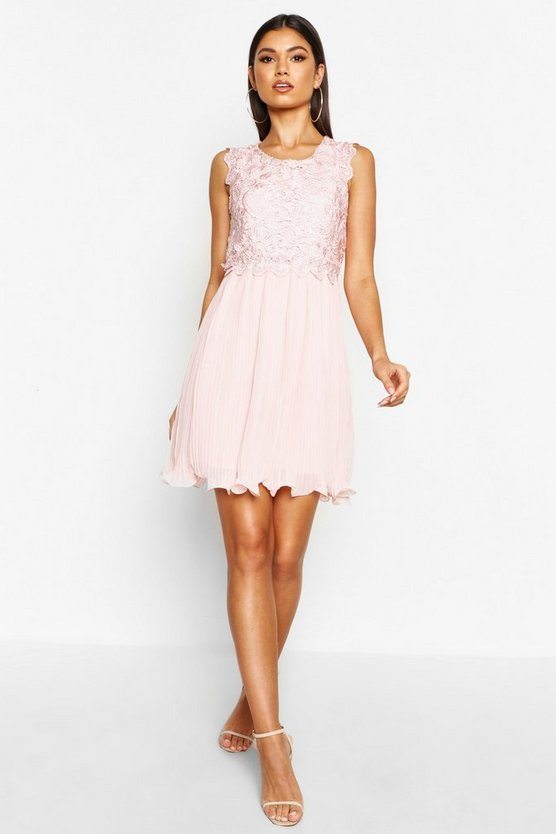 Womens Blush Boutique  Corded Lace Pleated Skater Dress
