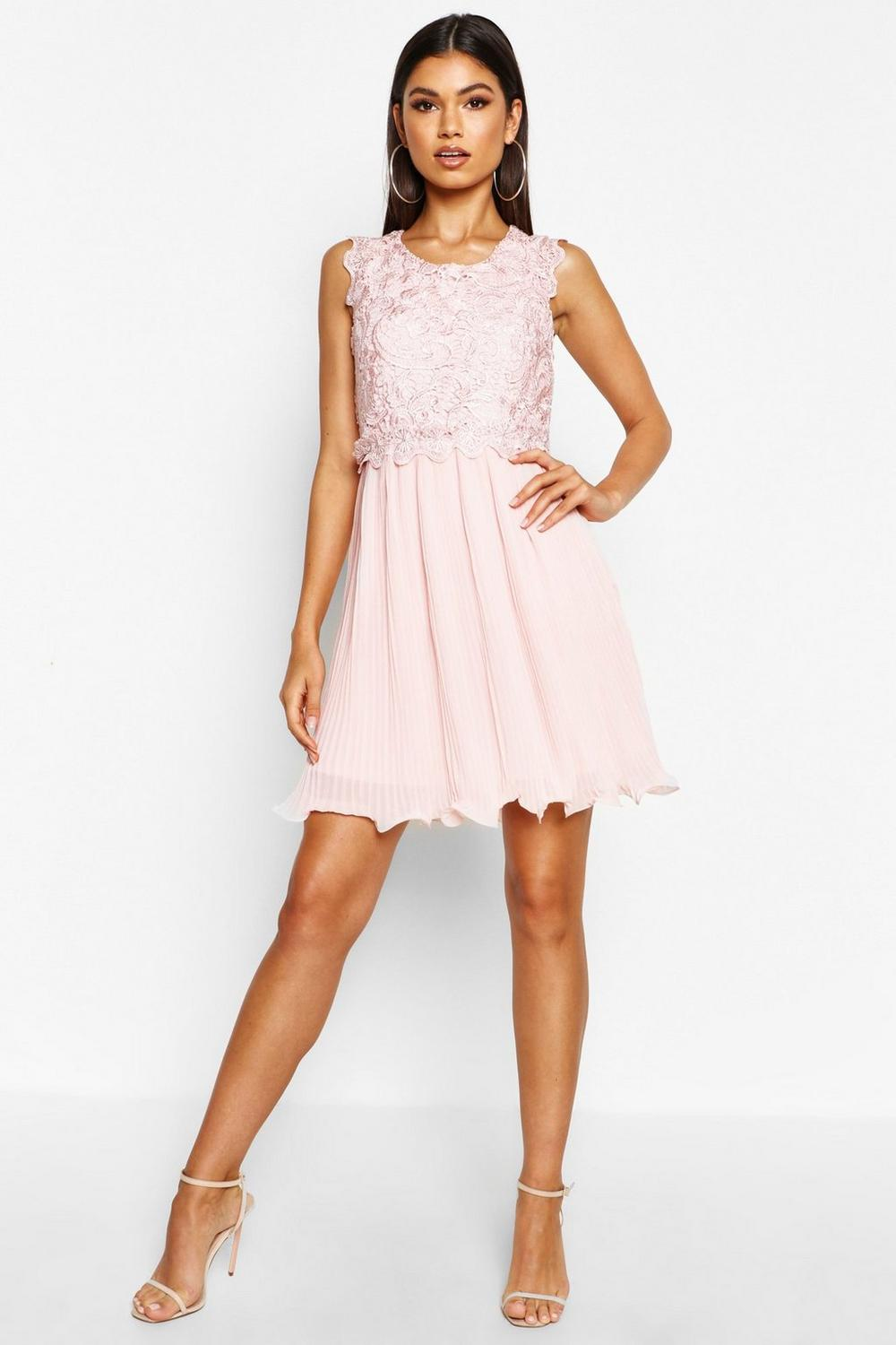 0e4f6d85be Boohoo Womens Boutique Corded Lace Pleated Skater Dress