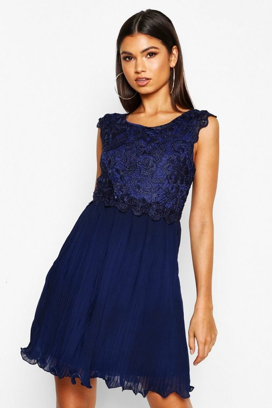 Womens Navy Boutique  Corded Lace Pleated Skater Dress