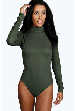 Womens Khaki Basic Turtle Neck Rib Long Sleeve Bodysuit