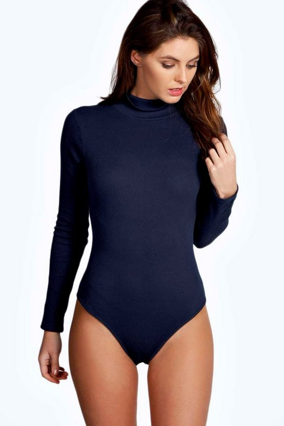 Basic Turtle Neck Rib Long Sleeve Bodysuit