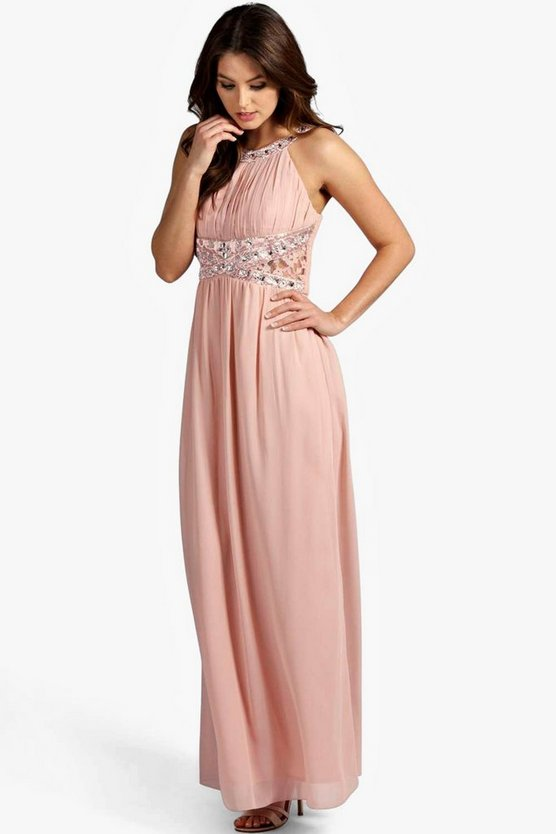 Womens Blush Embellished Lace Detail Chiffon Maxi Dress