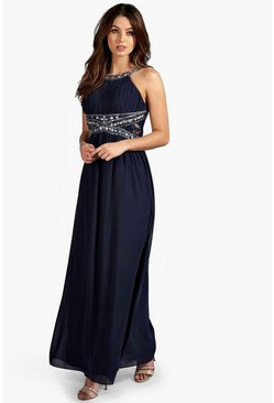 Womens Navy Embellished Lace Detail Chiffon Maxi Dress