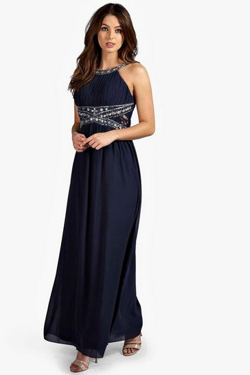 Navy Embellished Lace Detail Chiffon Maxi Dress