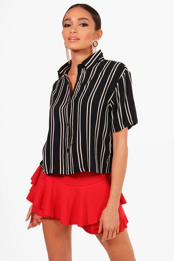 Striped Short Sleeve Boxy Shirt
