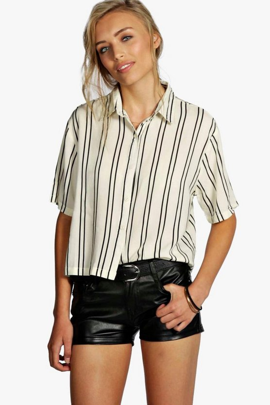 Womens White Striped Short Sleeve Boxy Shirt