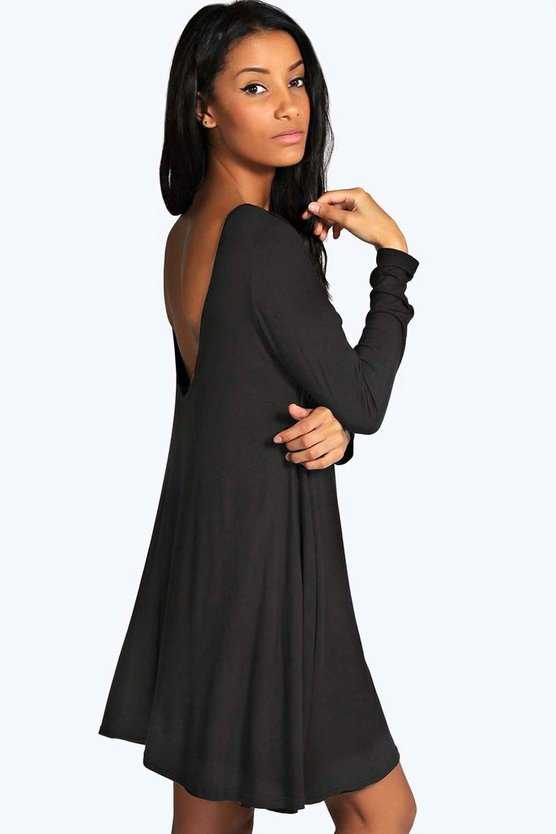 Womens Black Leena Low Back Swing Dress