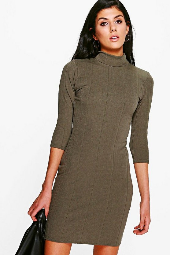Tara Turtle Neck Rib Bodycon Dress