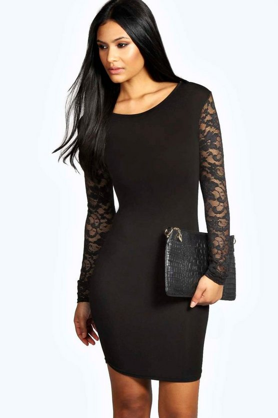 Womens Black Lace Sleeve Bodycon Dress