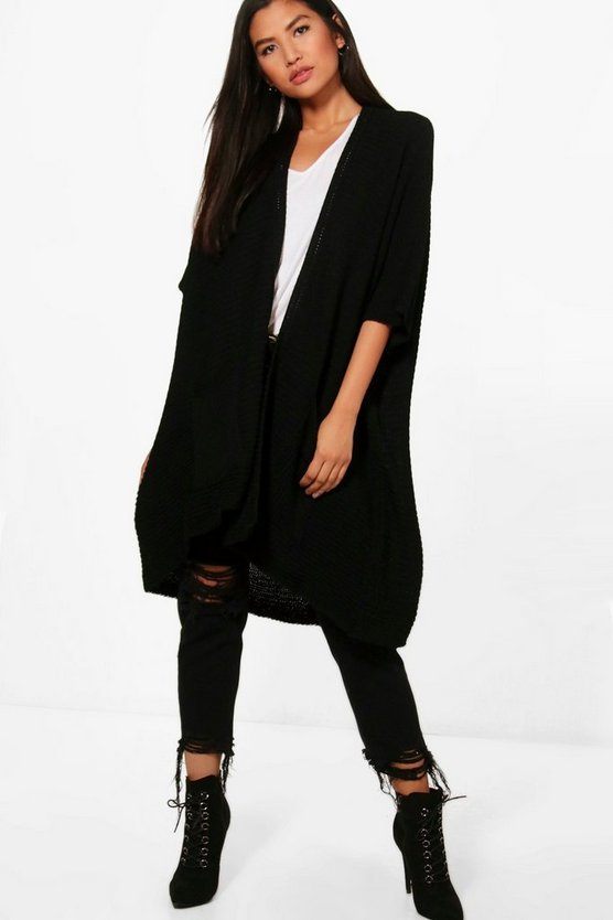 Womens Black Pocket Cape Cardigan