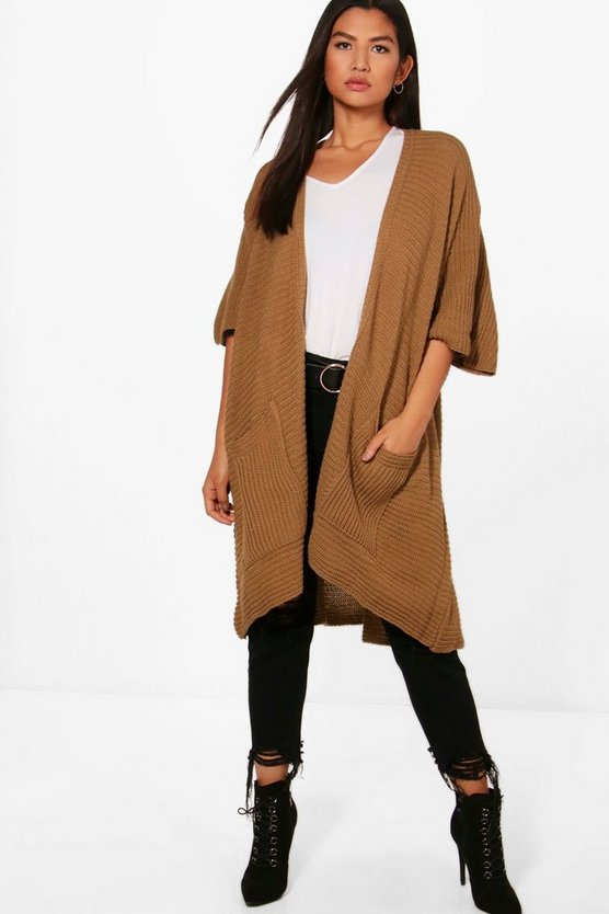 Womens Camel Pocket Cape Cardigan
