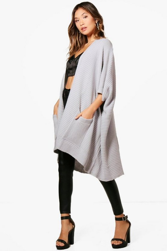 Grey Pocket Cape Cardigan