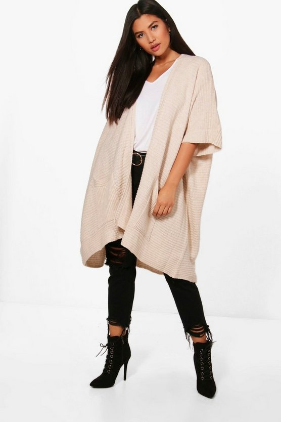 Womens Khaki Pocket Cape Cardigan