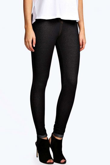 Womens Black Turn Up Denim Look Jeggings