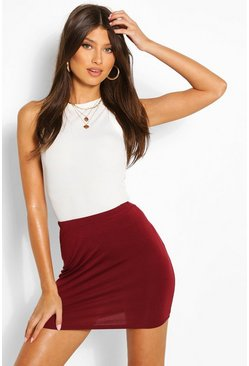 Womens Berry Basic Jersey Mini Skirt