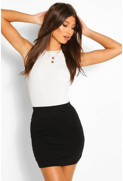 Womens Black Basic Jersey Mini Skirt
