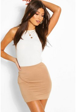 Camel Basic Jersey Mini Skirt