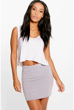 Womens Grey marl Basic Jersey Mini Skirt