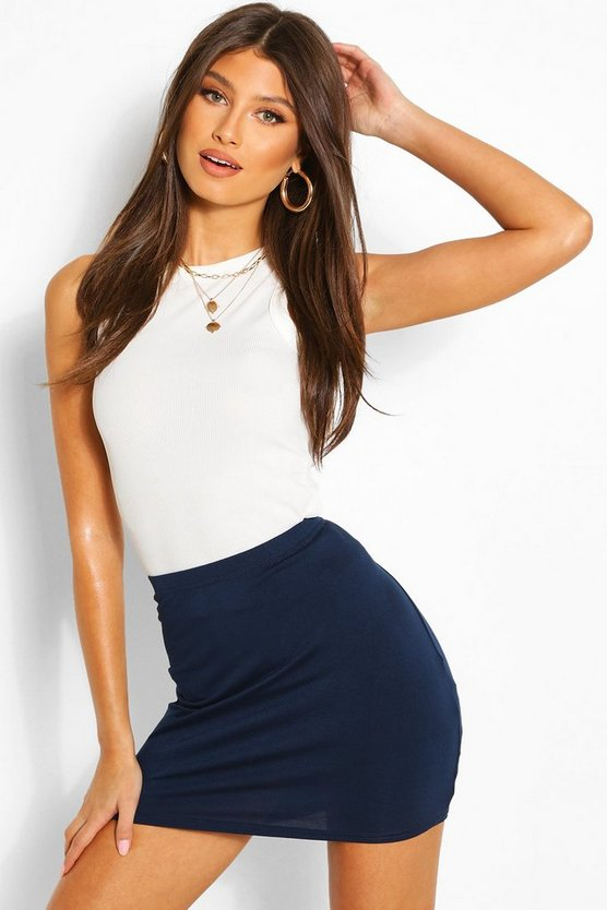 Womens Navy Basic Jersey Mini Skirt