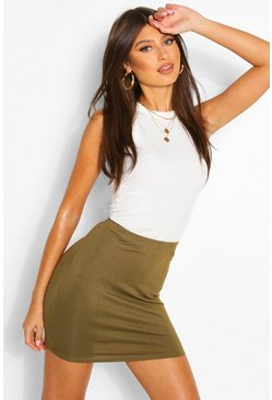 Womens Olive Basic Jersey Mini Skirt