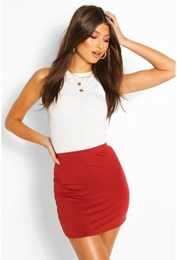 Rust Basic Jersey Mini Skirt